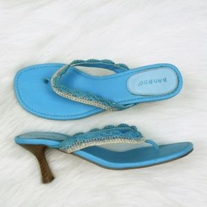 Bamboo T-Strap Sandal 8.5 Teal Shoes